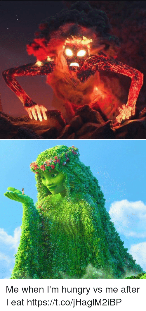 Hungry, Girl Memes, and Eat: Me when I'm hungry vs me after I eat https://t.co/jHaglM2iBP