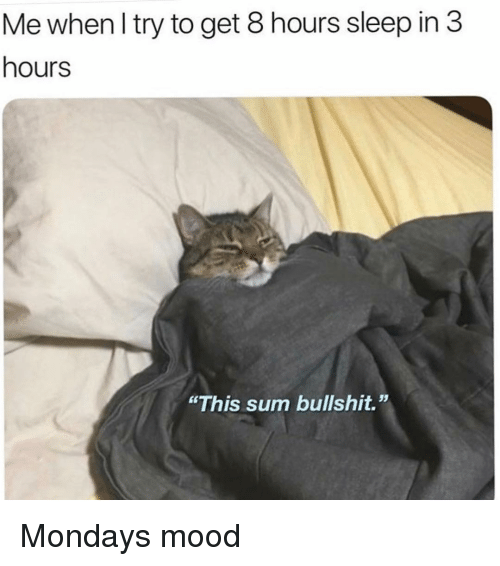 """Mondays, Mood, and Girl Memes: Me when l try to get 8 hours sleep in 3  hours  """"This sum bullshit."""" Mondays mood"""
