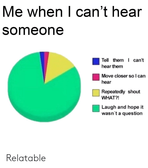 Relatable, Hope, and Can: Me when lcanthear  someone  Tell them I can't  hear them  Move closer so I can  hear  Repeatedly shout  WHAT?  Laugh and hope it  wasn t a question Relatable