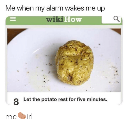 Alarm, Potato, and Wiki: Me when my alarm wakes me up  wiki  How  8  Let the potato rest for five minutes me🥔irl