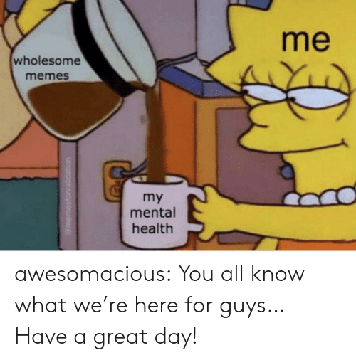 Memes, Tumblr, and Blog: me  wholesome  memes  my  mental  health awesomacious:  You all know what we're here for guys… Have a great day!