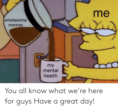 Memes, Wholesome, and Mental Health: me  wholesome  memes  my  mental  health You all know what we're here for guys Have a great day!