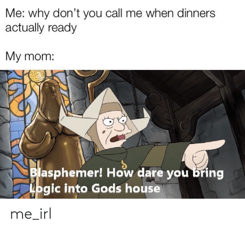 Logic, House, and Irl: Me: why don't you call me when dinners  actually ready  My mom:  Blasphemer! How dare you bring  Logic into Gods house me_irl