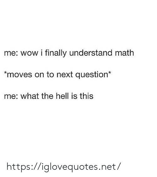 Wow, Math, and Hell: me: wow i finally understand math  moves on to next question*  me: what the hell is this https://iglovequotes.net/