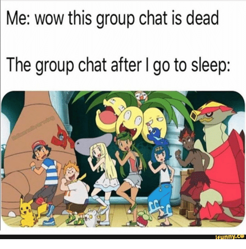 go to sleep: Me: wow this group chat is dead  The group chat after I go to sleep:  adcanelilvarwing  ifunny.co