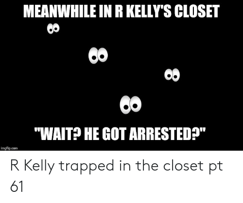 "R. Kelly, Reddit, and Got: MEANWHILE IN R KELLY'S CLOSET  ""WAIT? HE GOT ARRESTED?""  imgflip.com  8 R Kelly trapped in the closet pt 61"