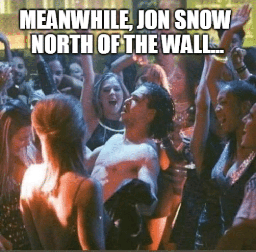 Game of Thrones, Jon Snow, and Snow: MEANWHILE, JON SNOW  NORTH OFTHE WALL