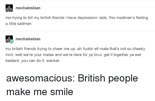 Friends, Tumblr, and Blog: mechalesbian  me trying to tell my british friends i have depression: lads, this madman's feeling  a little sadman  mechalesbian  my british friends trying to cheer me up: ah fuckin ell mate that's not so cheeky  innit. well we're your mates and we're here for ya bruv. get it together ya wet  bastard. you can do it. wanker. awesomacious:  British people make me smile