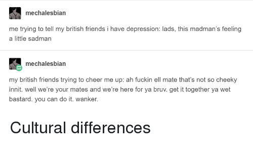 Friends, Depression, and British: mechalesbian  me trying to tell my british friends i have depression: lads, this madman's feeling  a little sadman  mechalesbian  my british friends trying to cheer me up: ah fuckin ell mate that's not so cheeky  innit. well we're your mates and we're here for ya bruv. get it together ya wet  bastard. you can do it. wanker. Cultural differences