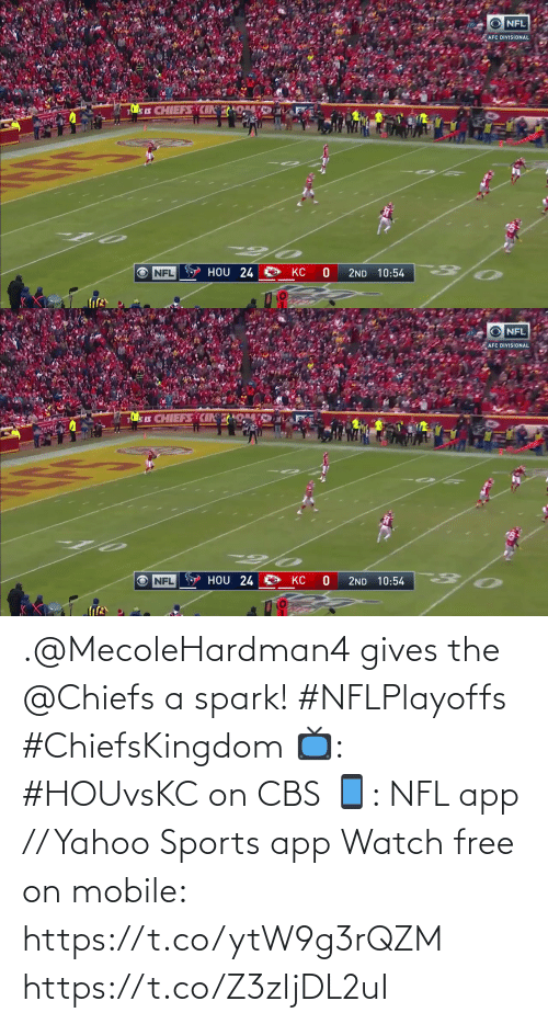 Free: .@MecoleHardman4 gives the @Chiefs a spark! #NFLPlayoffs #ChiefsKingdom  📺: #HOUvsKC on CBS 📱: NFL app // Yahoo Sports app Watch free on mobile: https://t.co/ytW9g3rQZM https://t.co/Z3zljDL2uI