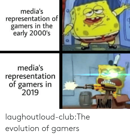 Club, Target, and Tumblr: media's  representation of  gamers in the  early 2000's  media's  representation  of gamers in  2019  AWMO laughoutloud-club:The evolution of gamers