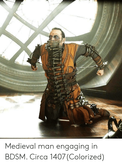 Medieval, Bdsm, and Man: Medieval man engaging in BDSM. Circa 1407(Colorized)