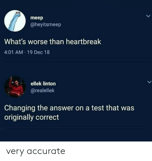 A Test: meep  @heyitsmeep  What's worse than heartbreak  4:01 AM 19 Dec 18  ellek linton  LL  @realellek  Changing the answer on a test that was  originally correct very accurate