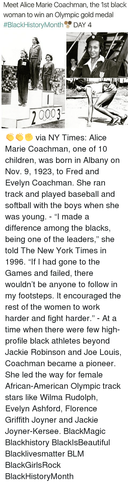 "Baseballisms: Meet Alice Marie Coachman, the 1st black  woman to win an Olympic gold medal  #Black HistoryMonth  DAY 4  20003 👏👏✊ via NY Times: Alice Marie Coachman, one of 10 children, was born in Albany on Nov. 9, 1923, to Fred and Evelyn Coachman. She ran track and played baseball and softball with the boys when she was young. - ""I made a difference among the blacks, being one of the leaders,"" she told The New York Times in 1996. ""If I had gone to the Games and failed, there wouldn't be anyone to follow in my footsteps. It encouraged the rest of the women to work harder and fight harder."" - At a time when there were few high-profile black athletes beyond Jackie Robinson and Joe Louis, Coachman became a pioneer. She led the way for female African-American Olympic track stars like Wilma Rudolph, Evelyn Ashford, Florence Griffith Joyner and Jackie Joyner-Kersee. BlackMagic Blackhistory BlackIsBeautiful Blacklivesmatter BLM BlackGirlsRock BlackHistoryMonth"