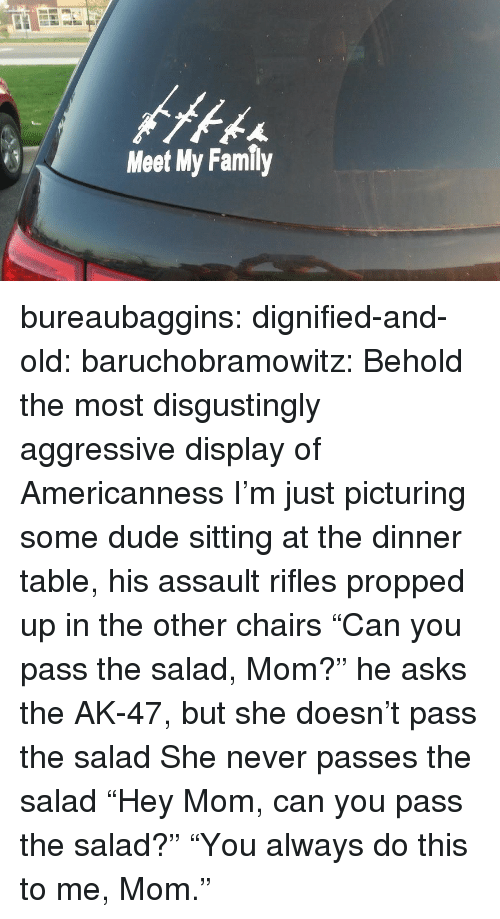 """Dude, Family, and Target: Meet My Family bureaubaggins:  dignified-and-old:  baruchobramowitz:  Behold the most disgustingly aggressive display of Americanness  I'm just picturing some dude sitting at the dinner table, his assault rifles propped up in the other chairs """"Can you pass the salad, Mom?"""" he asks the AK-47, but she doesn't pass the salad She never passes the salad  """"Hey Mom, can you pass the salad?""""      """"You always do this to me, Mom."""""""