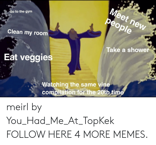 meet-new-people: Meet new  people  Go to the gym  Clean my room  Take a shower  Eat veggies  Watching the same vine  compilation for the 20th time meirl by You_Had_Me_At_TopKek FOLLOW HERE 4 MORE MEMES.