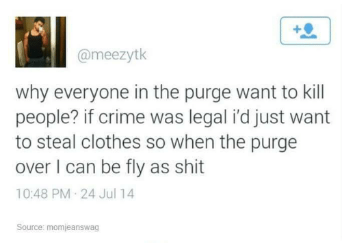 fly: @meezytk  why everyone in the purge want to kill  people? if crime was legal i'd just want  to steal clothes so when the purge  over I can be fly as shit  10:48 PM 24 Jul 14  Source: momjeanswag