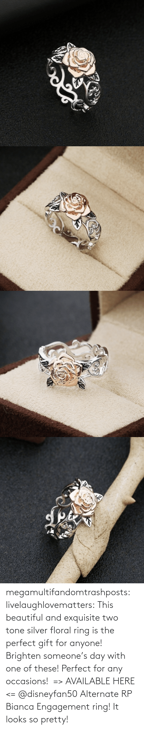 media: megamultifandomtrashposts:  livelaughlovematters: This beautiful and exquisite two tone silver floral ring is the perfect gift for anyone! Brighten someone's day with one of these! Perfect for any occasions!  => AVAILABLE HERE <=    @disneyfan50 Alternate RP Bianca Engagement ring! It looks so pretty!