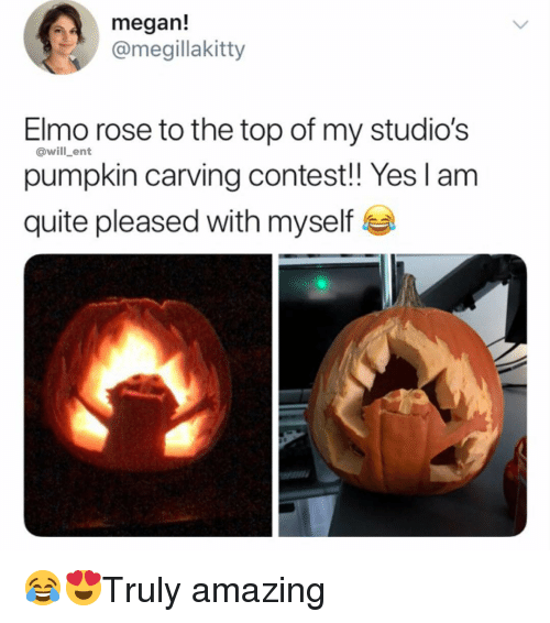Elmo, Megan, and Memes: megan!  @megillakitty  Elmo rose to the top of my studio's  pumpkin carving contest!! Yes l am  quite pleased with myself  @will _ent 😂😍Truly amazing