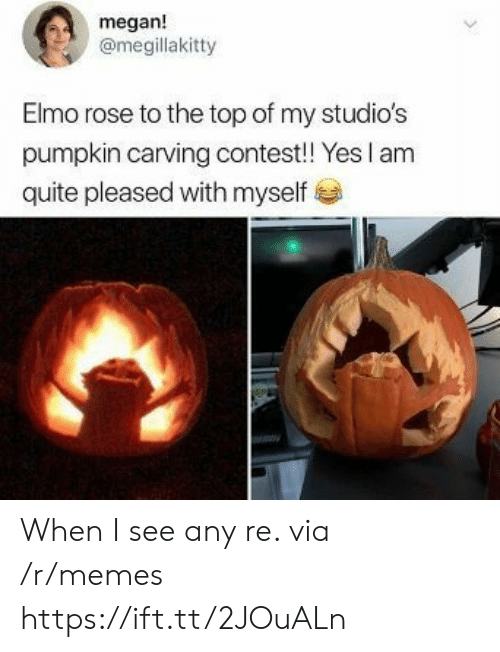 Elmo, Megan, and Memes: megan!  @megillakitty  Elmo rose to the top of my studio's  pumpkin carving contest! Yes I am  quite pleased with myself When I see any re. via /r/memes https://ift.tt/2JOuALn