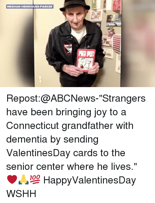 "Memes, Wshh, and Connecticut: MEGHAN HENRIQUES PARKER Repost:@ABCNews-""Strangers have been bringing joy to a Connecticut grandfather with dementia by sending ValentinesDay cards to the senior center where he lives."" ❤️🙏💯 HappyValentinesDay WSHH"