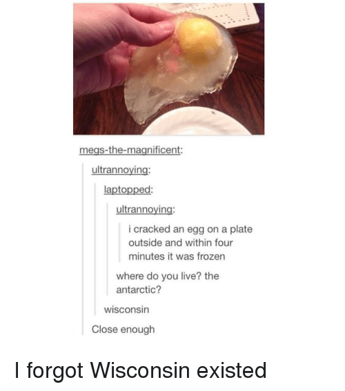 Frozen, Cracked, and Live: megs-the-magnificent:  ultrannoying  laptopped:  ultrannoying:  i cracked an egg on a plate  outside and within four  minutes it was frozen  where do you live? the  antarctic?  wisconsin  Close enough I forgot Wisconsin existed