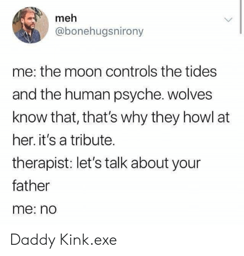 Meh, Moon, and Wolves: meh  @bonehugsnirony  me: the moon controls the tides  and the human psyche. wolves  know that, that's why they howl at  her. it's a tribute.  therapist: let's talk about your  father  me: no Daddy Kink.exe