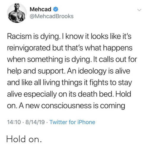Alive, Iphone, and Racism: Mehcad  @MehcadBrooks  Racism is dying. I know it looks like it's  reinvigorated but that's what happens  when something is dying. It calls out for  help and support. An ideology is alive  and like all living things it fights to stay  alive especially on its death bed. Hold  on. A new consciousness is coming  14:10 8/14/19 Twitter for iPhone Hold on.
