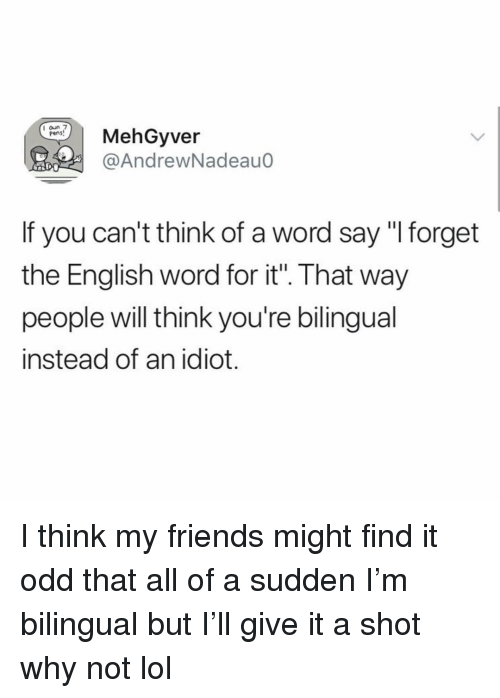 "Friends, Funny, and Lol: MehGyver  @AndrewNadeaud  pens  If you can't think of a word say ""I forget  the English word for it"". That way  people will think you're bilingual  instead of an idiot. I think my friends might find it odd that all of a sudden I'm bilingual but I'll give it a shot why not lol"