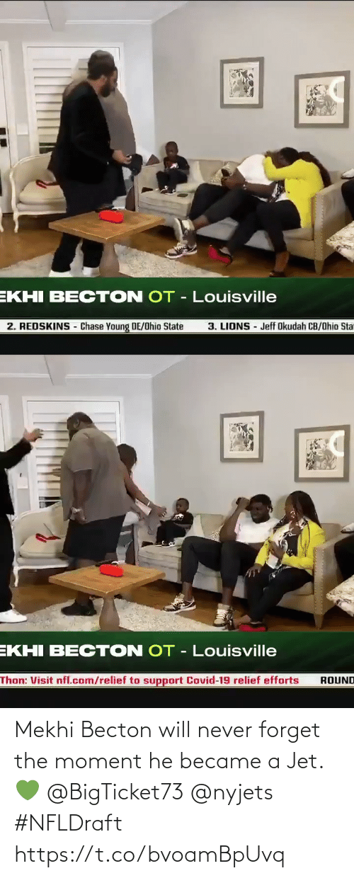The Moment: Mekhi Becton will never forget the moment he became a Jet. 💚 @BigTicket73 @nyjets #NFLDraft https://t.co/bvoamBpUvq