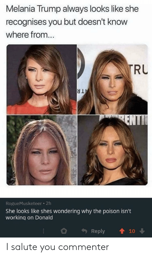 poison: Melania Trump always looks like she  recognises you but doesn't know  where from...  TRU  TR  ENTI  RogueMusketeer 2h  She looks like shes wondering why the poison isn't  working on Donald  Reply  10 I salute you commenter