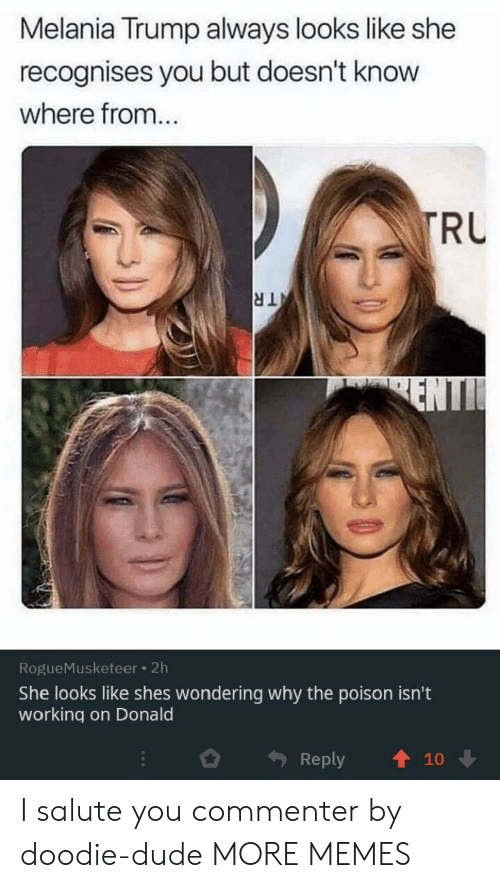 poison: Melania Trump always looks like she  recognises you but doesn't know  where from...  TRU  TR  ENTI  RogueMusketeer 2h  She looks like shes wondering why the poison isn't  working on Donald  Reply  10 I salute you commenter by doodie-dude MORE MEMES