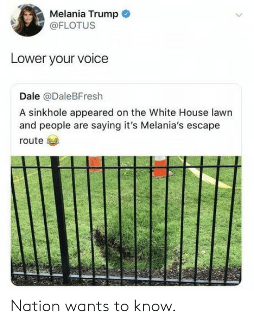 Nation: Melania Trump  @FLOTUS  Lower your voice  Dale @DaleBFresh  A sinkhole appeared on the White House lawn  and people are saying it's Melania's escape  route Nation wants to know.