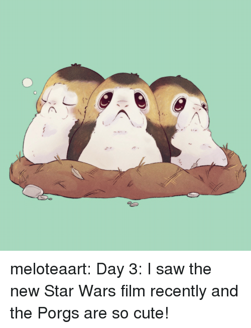 Cute, Saw, and Star Wars: meloteaart:  Day 3: I saw the new Star Wars film recently and the Porgs are so cute!