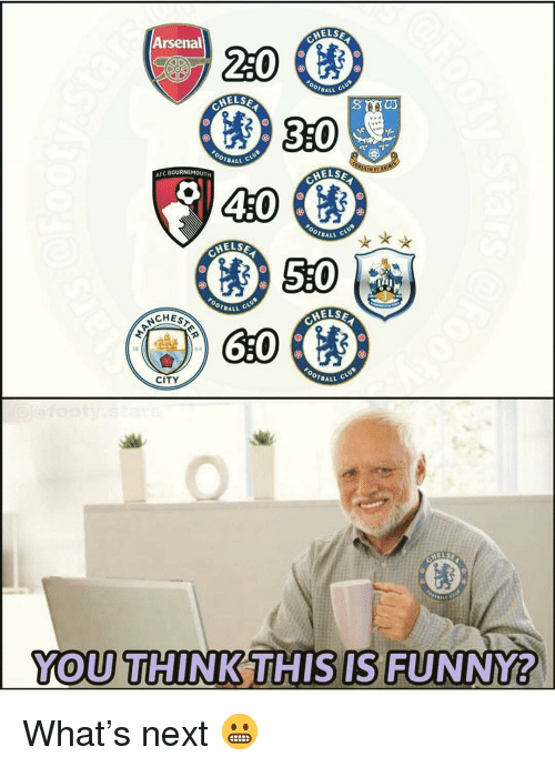Arsenal, Memes, and 🤖: MELSE  220  Arsenal  BALL C  AELSE  3:0  0  OTBALL  ELSE  40  AFC BOURNEMOUTH  OTBALL  ELSE  0  DALL C  HELSE  CHES  94  0  BALL  CITY  YOU THI NKİTH ISİSIFUNNY?  0 What's next 😬