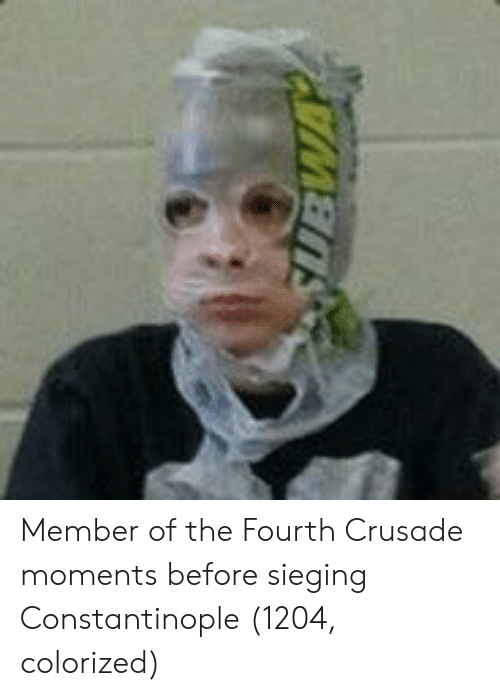 Constantinople, Crusade, and The: Member of the Fourth Crusade moments before sieging Constantinople (1204, colorized)