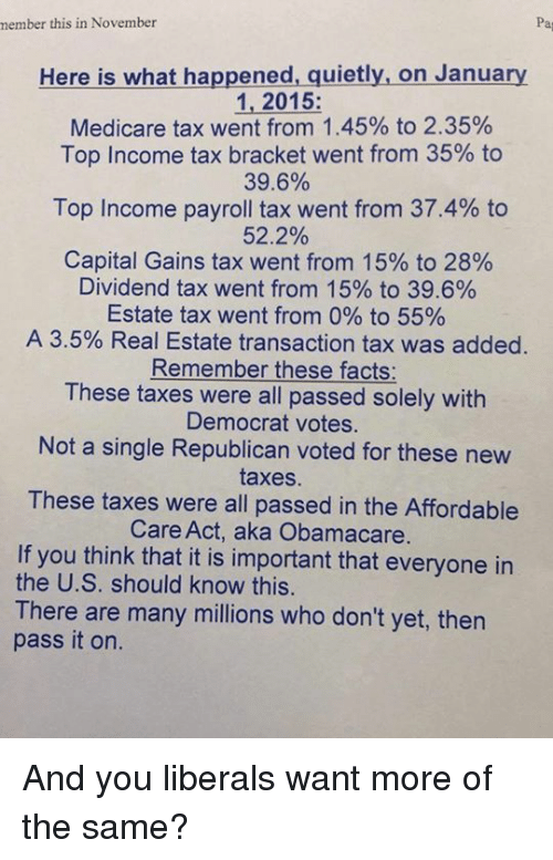 Facts, Memes, and Taxes: member this in November  Here is what happened, quietly, on January  1, 2015  Medicare tax went from 1.45% to 2.35%  Top Income tax bracket went from 35% to  39.6%  Top Income payroll tax went from 37.4% to  52.2%  Capital Gains tax went from 15% to 28%  Dividend tax went from 15% to 39.6%  Estate tax went from 0% to 55%  A 3.5% Real Estate transaction tax was added  Remember these facts:  These taxes were all passed solely with  Democrat votes.  Not a single Republican voted for these new  taxes.  These taxes were all passed in the Affordable  Care Act, aka Obamacare  If you think that it is important that everyone in  the U.S. should know this.  There are many millions who don't yet, then  pass it on. And you liberals want more of the same?