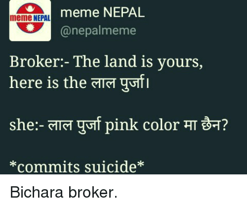 Nepal, Pink, and Suicide: meme NEPAL  meme NEPAL  (a nepal meme  Broker: The land is yours,  here is the TTT gutl  pink color TT BT?  She TTGT  *commits suicide* Bichara broker.