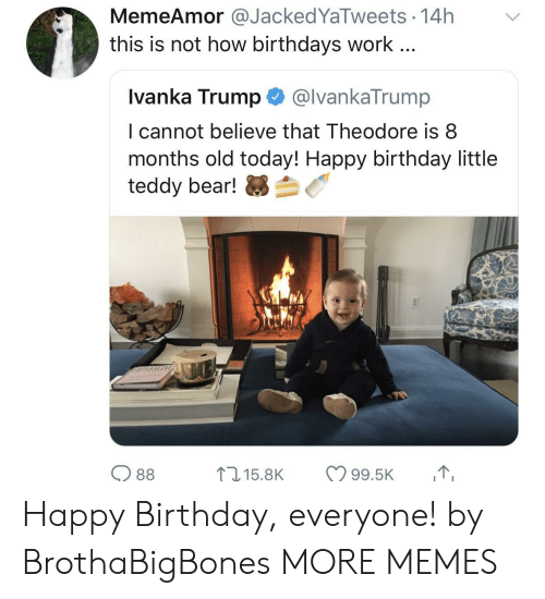 Birthday, Dank, and Memes: MemeAmor@JackedYaTweets 14h  this is not how birthdays work...  Ivanka Trump@lvankaTrump  I cannot believe that Theodore is8  months old today! Happy birthday little  teddy bear!芻刍  O 88 Happy Birthday, everyone! by BrothaBigBones MORE MEMES