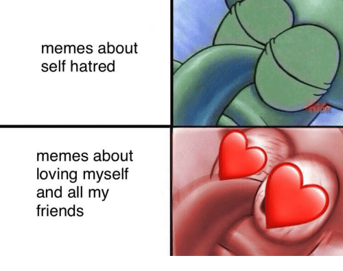 Friends, Memes, and Hatred: memes about  self hatred  memes about  loving myself  and all my  friends