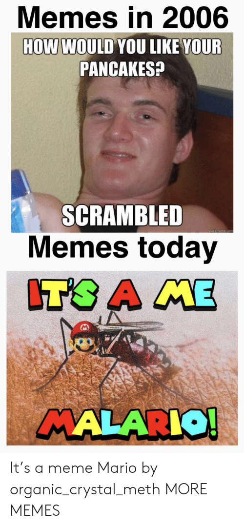 quickmeme: Memes in 2006  HOW WOULD YOU LIKE YOUR  PANCAKES?  SCRAMBLED  Memes today  quickmeme.com  IT'S A ME  MALARIO! It's a meme Mario by organic_crystal_meth MORE MEMES