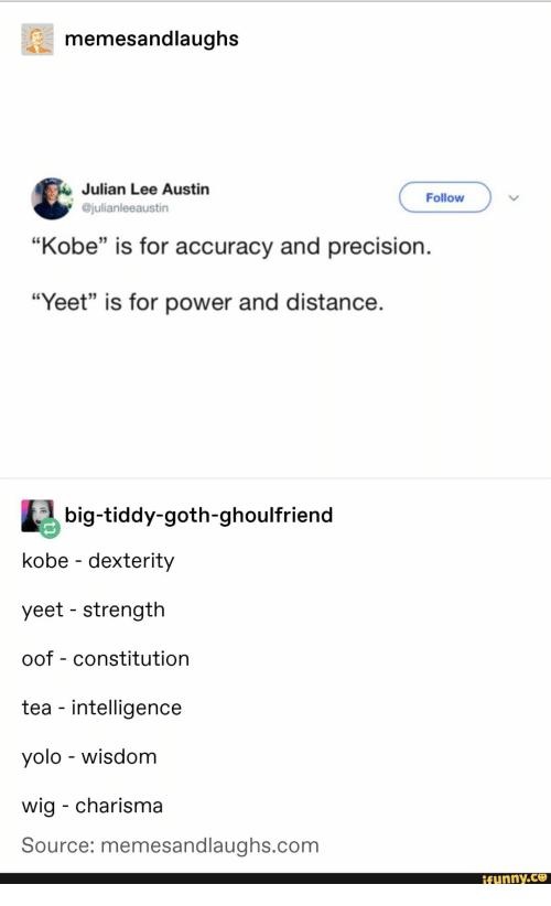 "Constitution: memesandlaughs  Julian Lee Austin  @julianleeaustin  Follow  ""Kobe"" is for accuracy and precision.  35  ""Yeet"" is for power and distance  big-tiddy-goth-ghoulfriend  kobe - dexterity  yeet - strength  oof - constitution  tea - intelligence  yolo - wisdom  wig - charisma  Source: memesandlaughs.com  funny.ce"