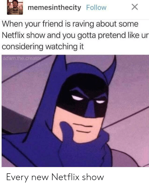 raving: memesinthecity Follow  When your friend is raving about some  Netflix show and you gotta pretend like ur  considering watching it  adam.the creato Every new Netflix show
