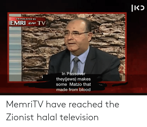 Television: MemriTV have reached the Zionist halal television