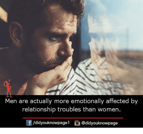 Memes, Women, and 🤖: Men are actually more emotionally affected by  relationship troubles than women.  /didyouknowpagel@didyouknowpage
