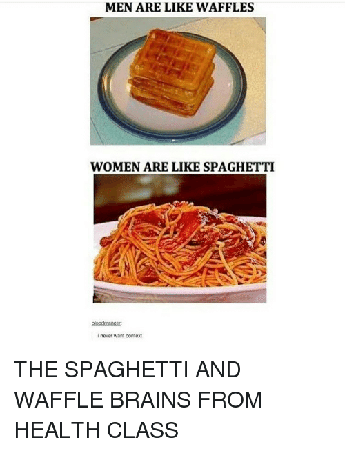 Memes, Spaghetti, and 🤖: MEN ARE LIKE WAFFLES  WOMEN ARE LIKE SPAGHETTI  blood mancer  inever want context THE SPAGHETTI AND WAFFLE BRAINS FROM HEALTH CLASS