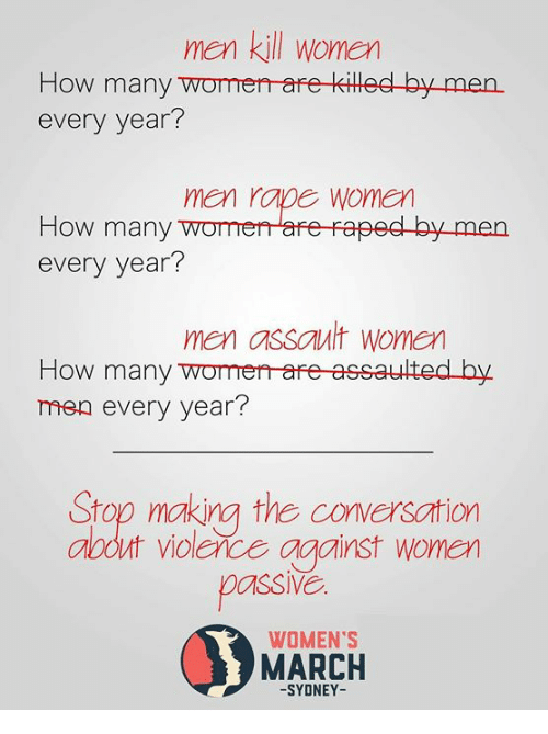 Memes, Rape, and Women: men kill women  How many womerr are killed by men.  every year?  men rape women  How many womeare raped by men  every year?  men assault women  How many womerr-are assaulted by.  men every year?  Stop making the conversation  abdut violerce against wonen  passl  WOMEN'S  MARCH  -SYDNEY-