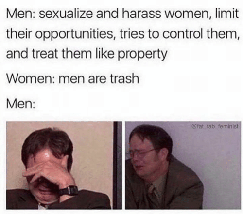 Memes, Trash, and Control: Men: sexualize and harass women, limit  their opportunities, tries to control them,  and treat them like property  Women: men are trash  Men:  @fat fab feminist