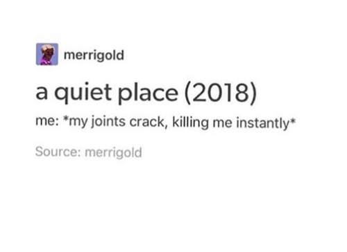 Quiet, Humans of Tumblr, and Source: merrigold  a quiet place (2018)  me: *my joints crack, killing me instantly*  Source: merrigold