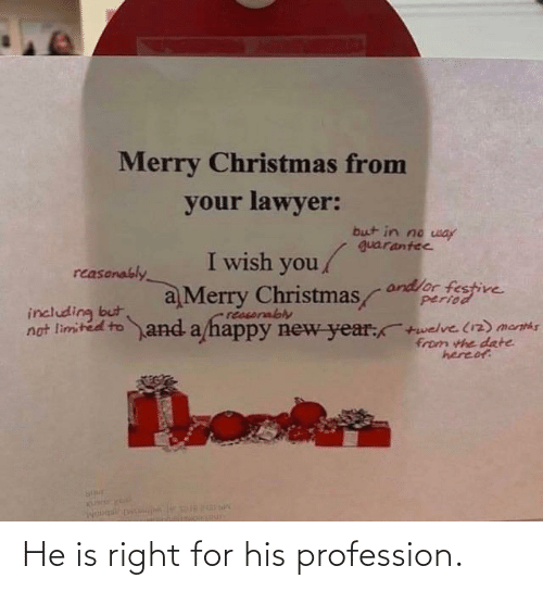 period: Merry Christmas from  your lawyer:  but in no way  guarantee  I wish you/  reasonably  andlor festive  period  a Merry Christmas  reasorably  not limited to and a happy new year:+welve (12) menths  including but  from the date  hereof He is right for his profession.